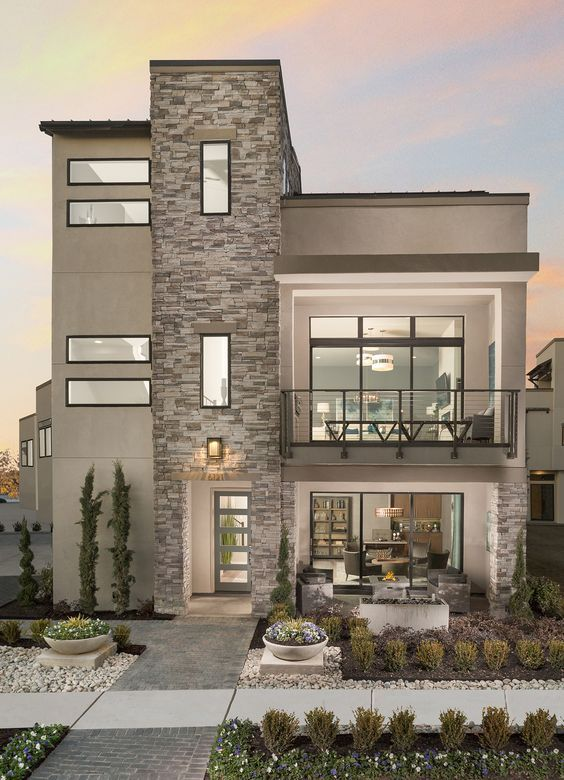 Curso De Como Decorar Con Piedra Tipos De Piedra Laja Minimalist House Design Facade House Duplex House Design