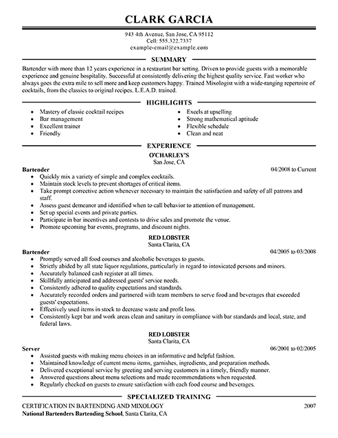 Resume Download Template Resume Best Summary And Highlights Red Lobster Bartender Download