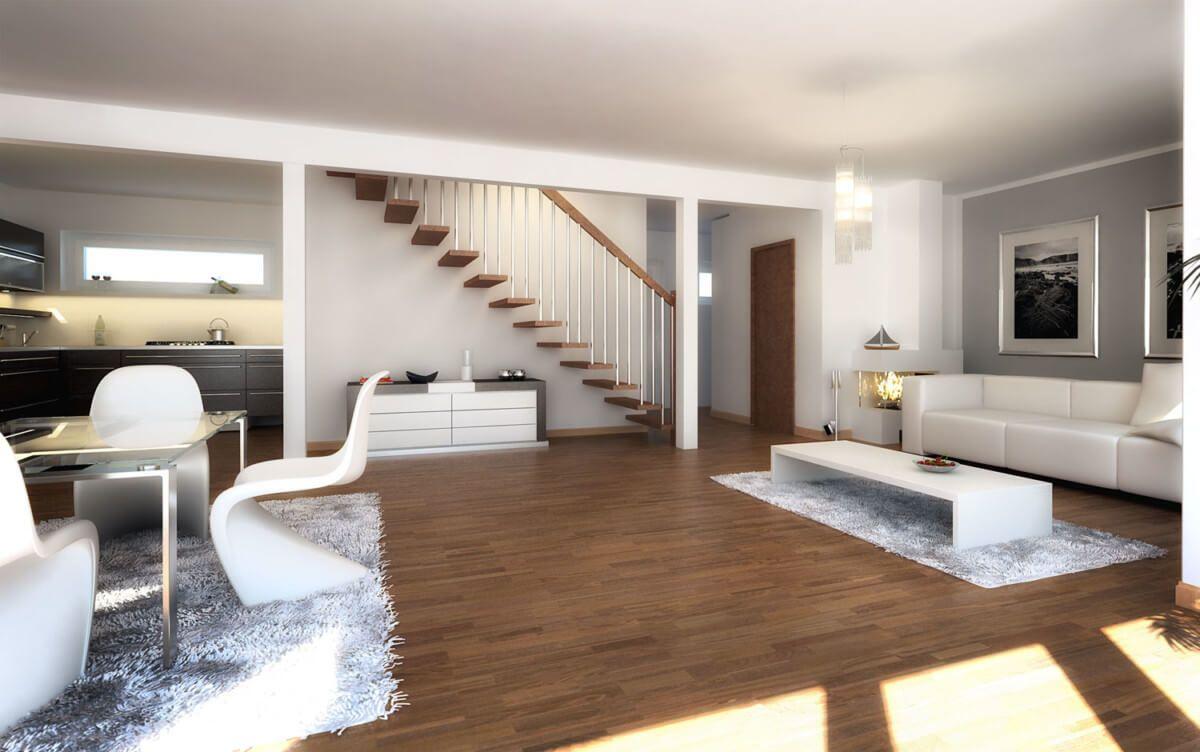 Wohnzimmer modern offen mit Esszimmer & Treppe - Wohnideen