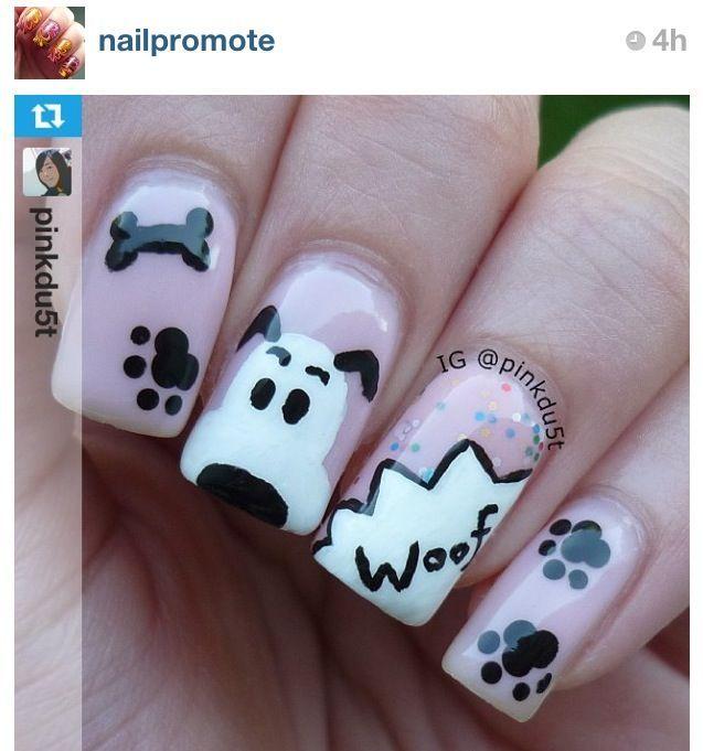 Cute Puppy Nails Unghie Graziose Unghie Unghie Gel
