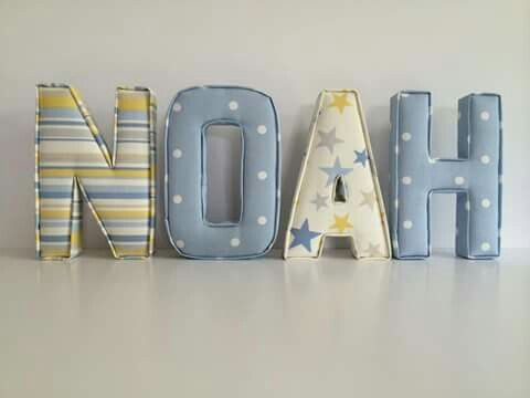 Noah. Got hooks on the back of the letters if want to hang on the wall and you can choose any name you want etc :). Go on facebook to check out :) even she has a website too :). I really like this :)