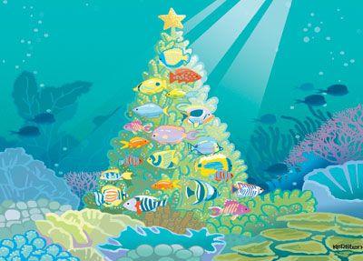 Underwater Christmas Christmas Tree Themes Christmas Tree Cards Tropical Christmas Cards
