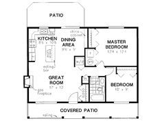 Simple House Plan With 2 Bedrooms And Garage country style house plans - 900 square foot home , 1 story, 2