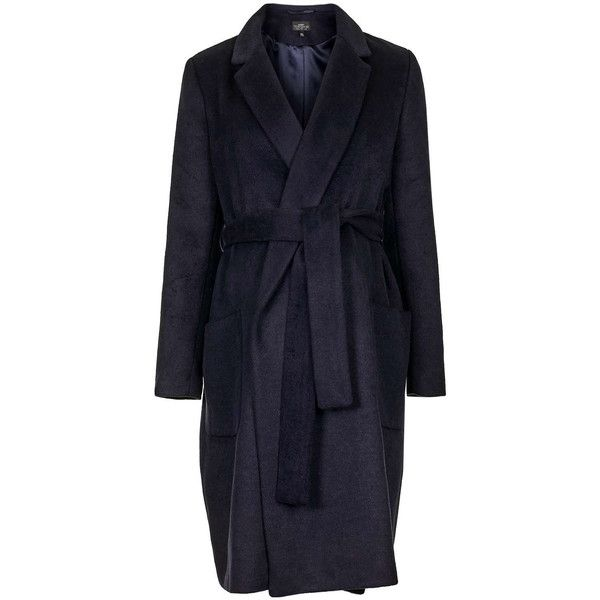 TOPSHOP MATERNITY Belted Wool Blend Coat ($170) ❤ liked on Polyvore featuring maternity, navy blue and topshop