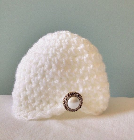 Newborn crochet hat - white crochet hat - baby girl hat - pearl ...