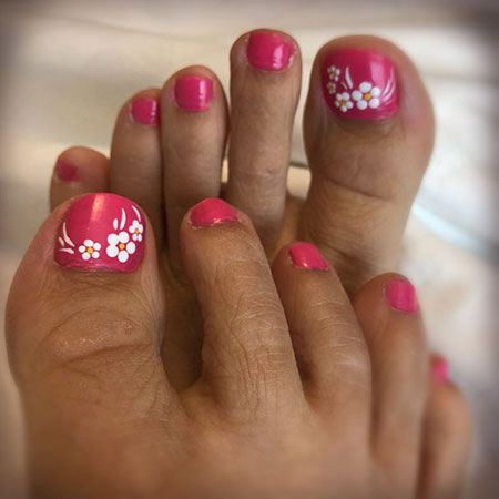 easy floral design for toes in 2020  summer toe nails