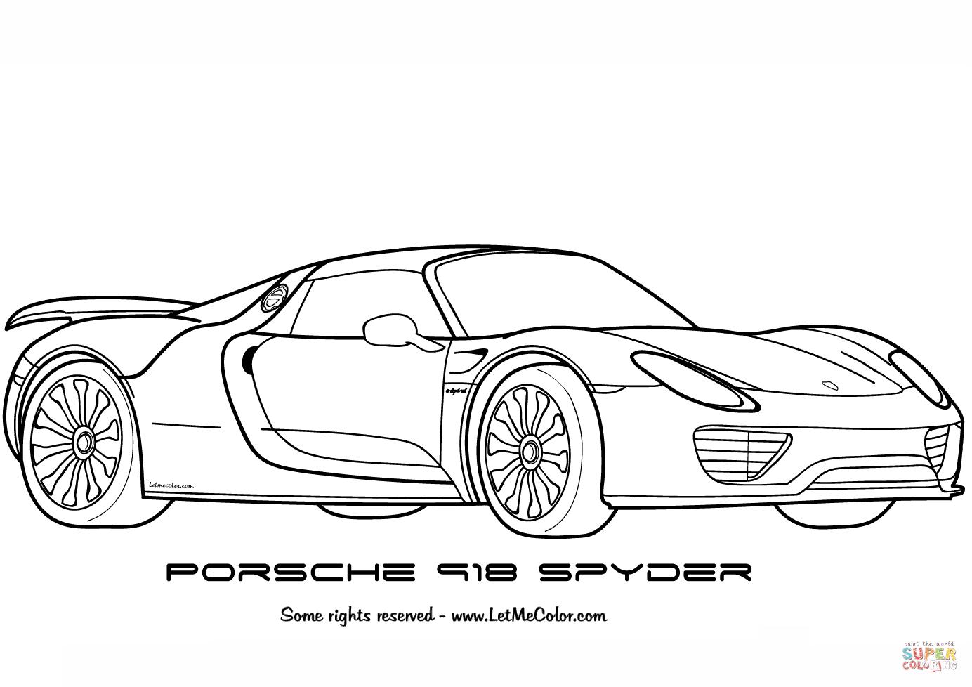 Porsche 918 Spyder Coloring Page Free Printable Coloring Pages In 2020 Cars Coloring Pages Race Car Coloring Pages Coloring Pages