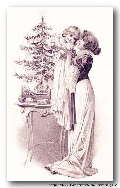 Раскраски новогодние открытки старинные черно-белые спрашивают
