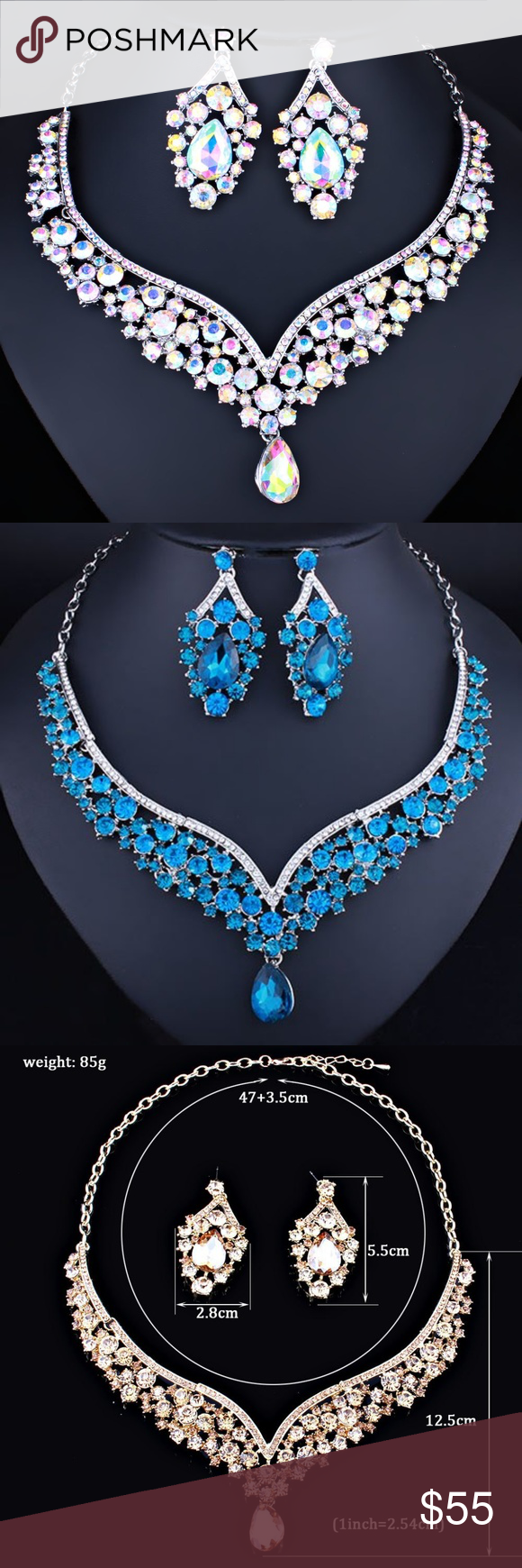 Photo of NS23 | Evening Glam Jewelry Prom Wedding Set Dainty Rhinestone Choker Necklace S …, #Choke …