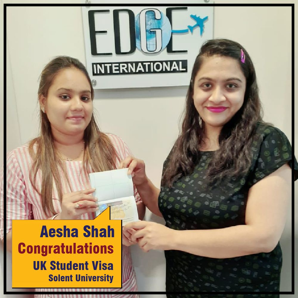 Warmest congratulations Aesha Shah for securing UK visa