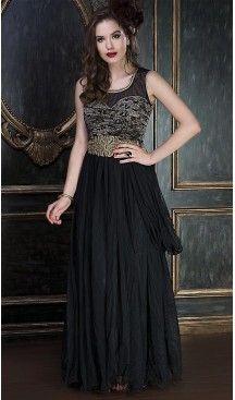 afda4b381a2 Black Color Net Designer Party Wear Gowns