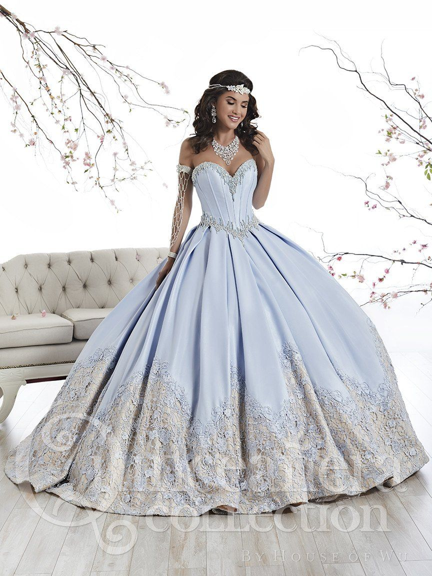 51fbd6ceaa Tiffany Quinceanera 26874 Sky Blue Nude Strapless Lace Ball Gown in ...