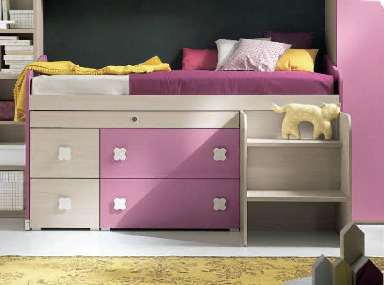 Letto singolo estraibile con cassettoni scaletta e scrivania estraibile camerette per ragazzi - Letto con scrivania estraibile ...