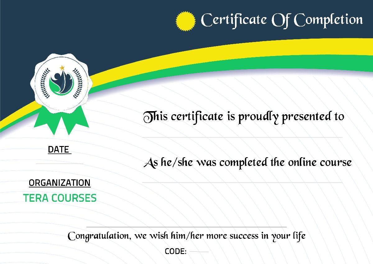 شهادة مجانية معتمدة اونلاين Course Organization Life Code Certificate Of Completion