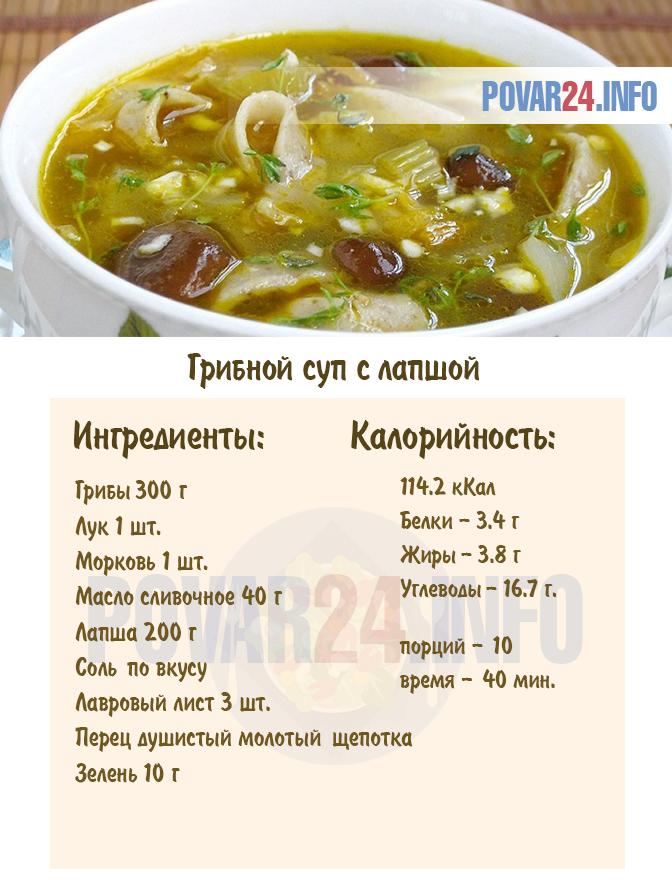 рецепт суп грибная лапша