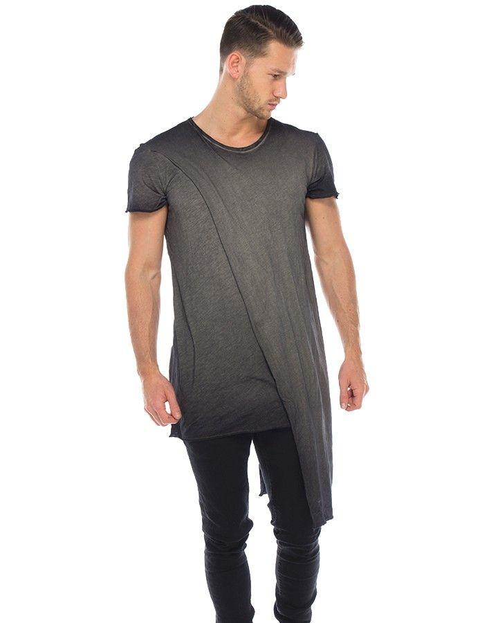 Delusion T-Shirt grau  Langer, stylischer Schnitt mit überlappendem Oberstoff aufwändiger Farbverlauf Lederdetail im Nacken