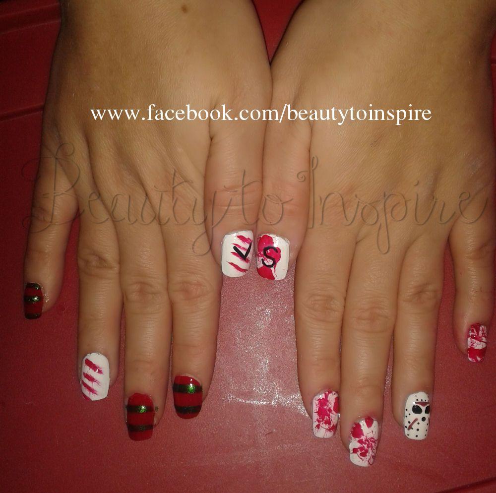 Freddy Vs Jason nails nail art blood splatter mask design ...