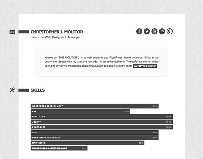 52 Modern Free \ Premium CV Resume Templates Resume \/ CV - html resume template