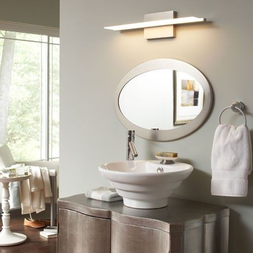 Any modern bathroom can handle these minimalist aluminum frames that use LED to cast light on surrounding walls. http://www.ybath.com/blog/5-ideas-guest-bathroom-powder-room/