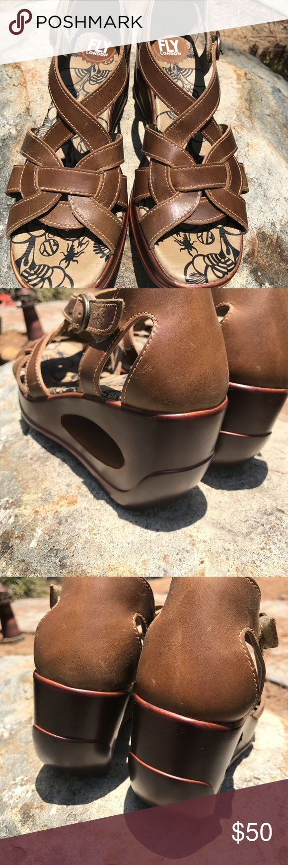 🔆 Fly London Sandals 🔆 Beautiful and Boho. The centerpiece of these sandals - alongside comfort - is their heels. Wore these about three times and received many compliments. Aside from some wear on the bottom, these are in excellent condition. Fly London Shoes Sandals