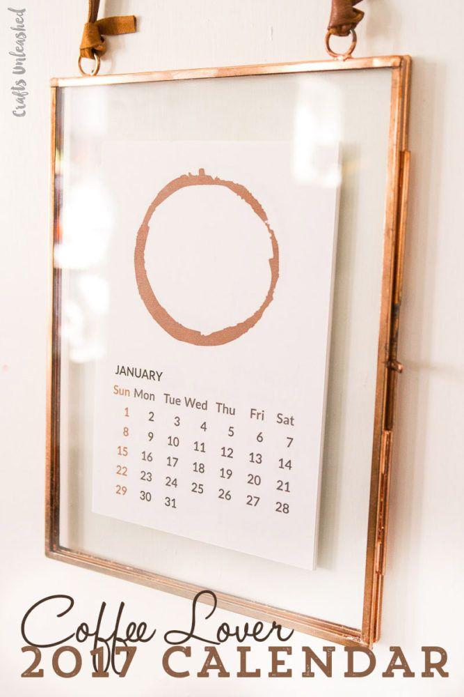 2017 Printable Calendar Coffee Lovers Design - Consumer Crafts