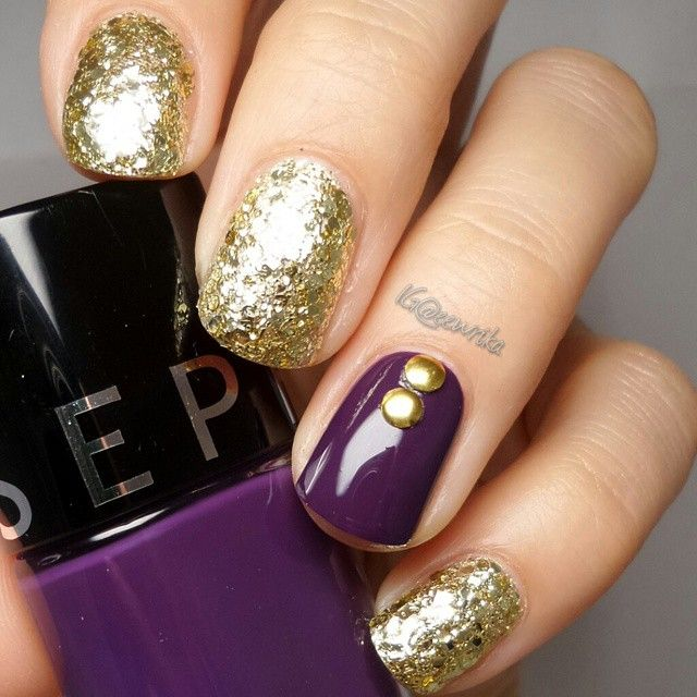 The decadent gold and rich purple create an air of sophistication in this look by @Eewrika.