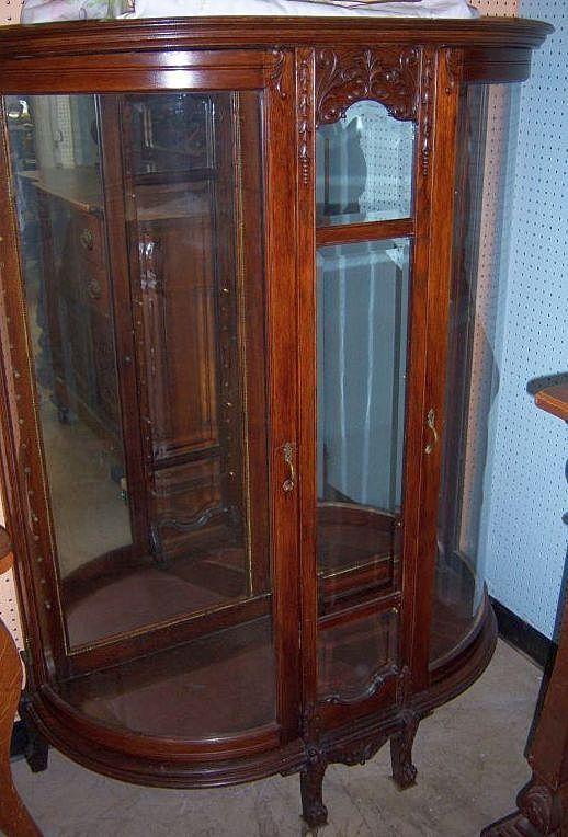 Oak Victorian China Cabinet, Curved Glass, Carving, Double Door I NEED THIS - Oak Victorian China Cabinet, Curved Glass, Carving, Double Door I