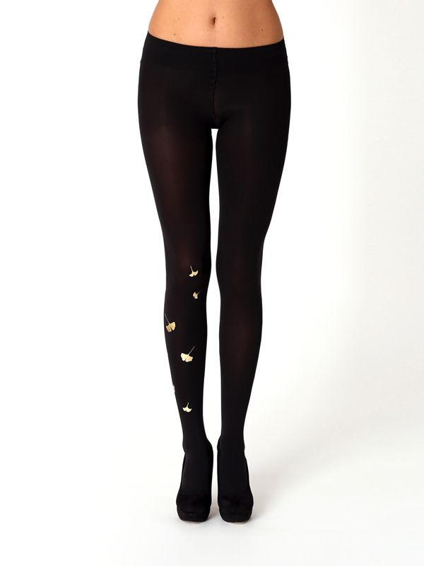 9516d989d Ginkgo tights by Virivee. Superb quality metallic tights from the Black    Gold Collection. Hand printed opaque tights with metallic gold ginkgo  pattern.