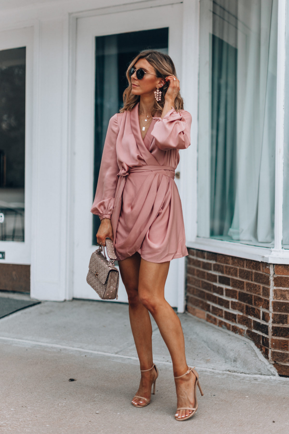wedding guest outfit // pre fall dress // long sleeved, short, fall color, vneck…