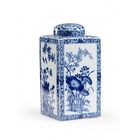 THE WELL APPOINTED HOUSE - Hand Painted Blue and White Porcelain Vase with Lid