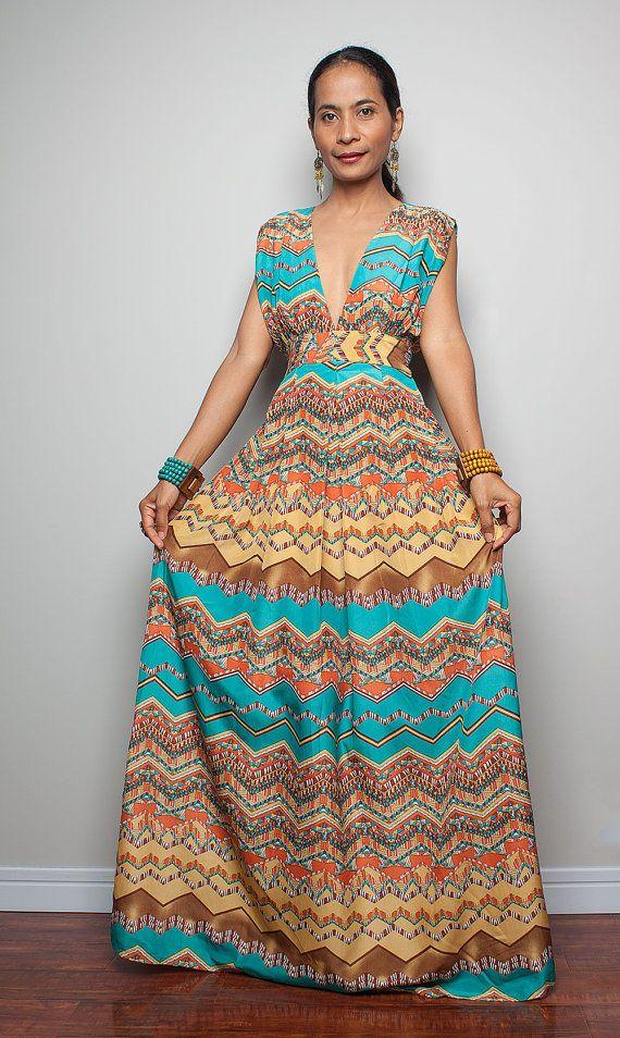 65b78ccae53 Summer Dress   Maxi Dress wit Sexy Low V-neck   Oriental Secrets ...