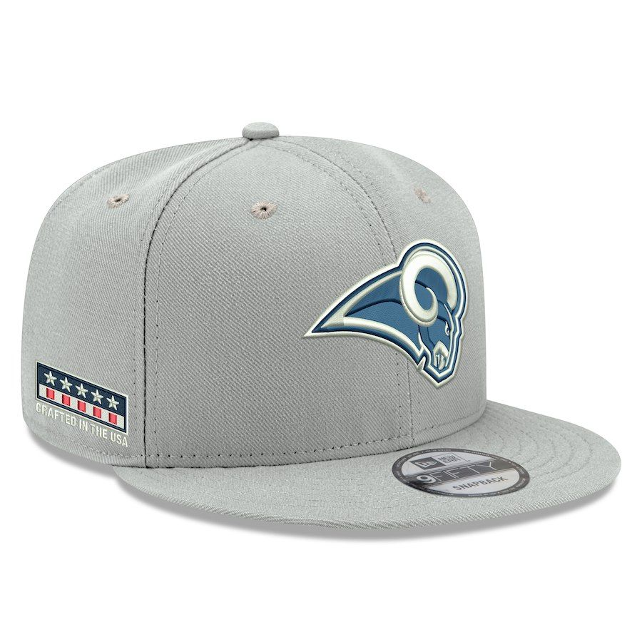 9efbae012f3 Men s Los Angeles Rams New Era Gray Crafted in the USA 9FIFTY Adjustable Hat
