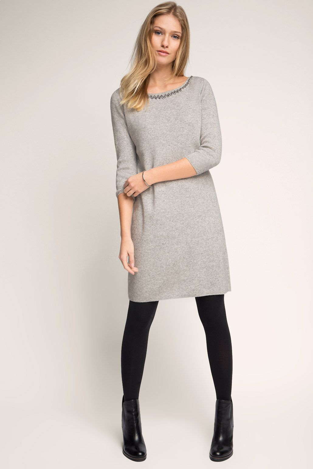 Esprit - Glamour Feinstrick-Kleid mit Kaschmir im Online ...