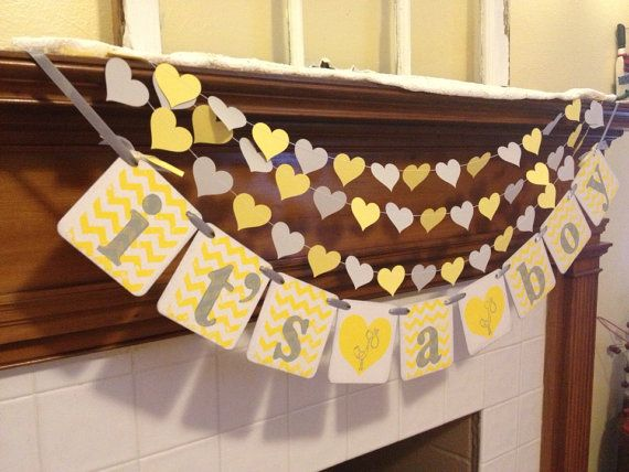 Its A Boy Banner Baby Shower Decoration Chevron By Classicbanners