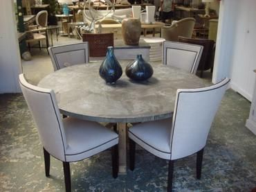 Mecox Gardens Round Zinc Dining Table With Rivets Detail Malibu