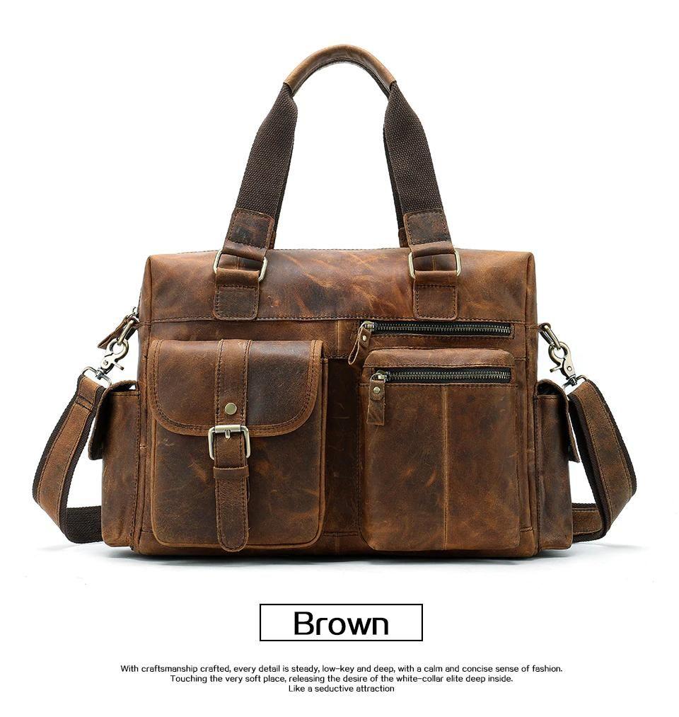 7e0a0baf5718 Men s Genuine Leather Vintage Shoulder Bag Casual Briefcase Multiple Pocket  Laptop Holdall Handbag Cowhide Leather Travel