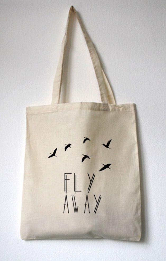 jutebeutel fly away tote bag by walkthedawg via inlogo pinterest sac. Black Bedroom Furniture Sets. Home Design Ideas