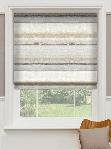 Headingly Stripe Sandstone Roman Blind Roman Blinds Blinds Dining Room Windows