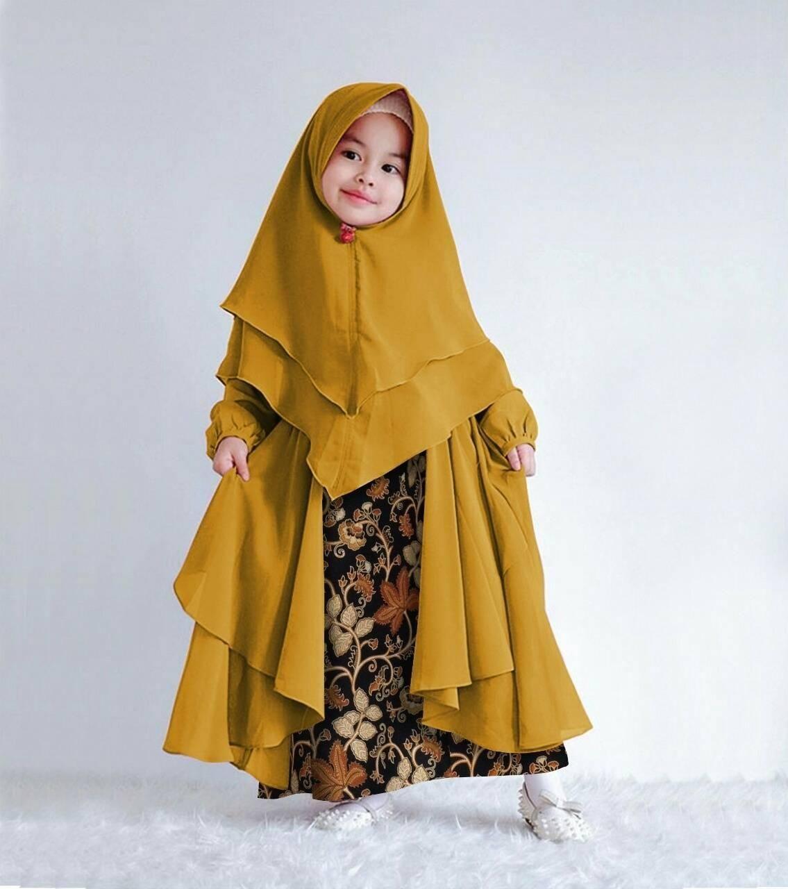 Model Baju Batik Muslim Anak Perempuan Terbaru di 12  Gaun bayi