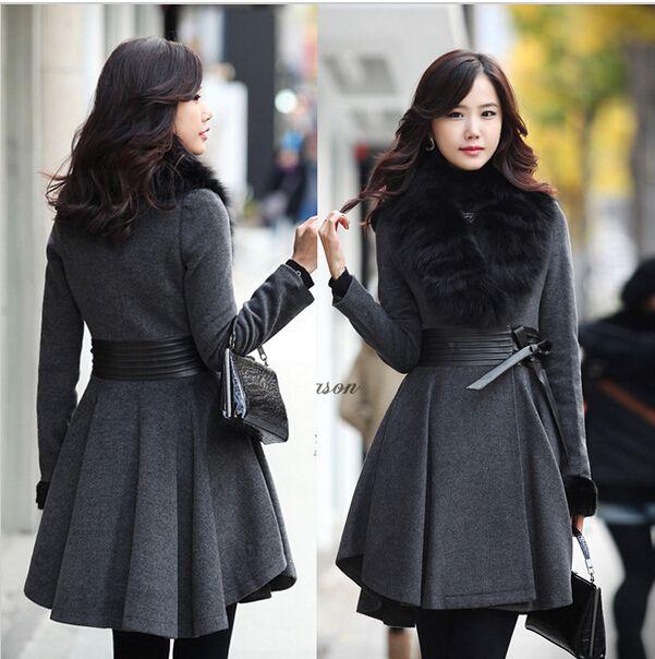 Nouveau 2014 hiver, femmes. grand col de fourrure manteau de laine de luxe  minces