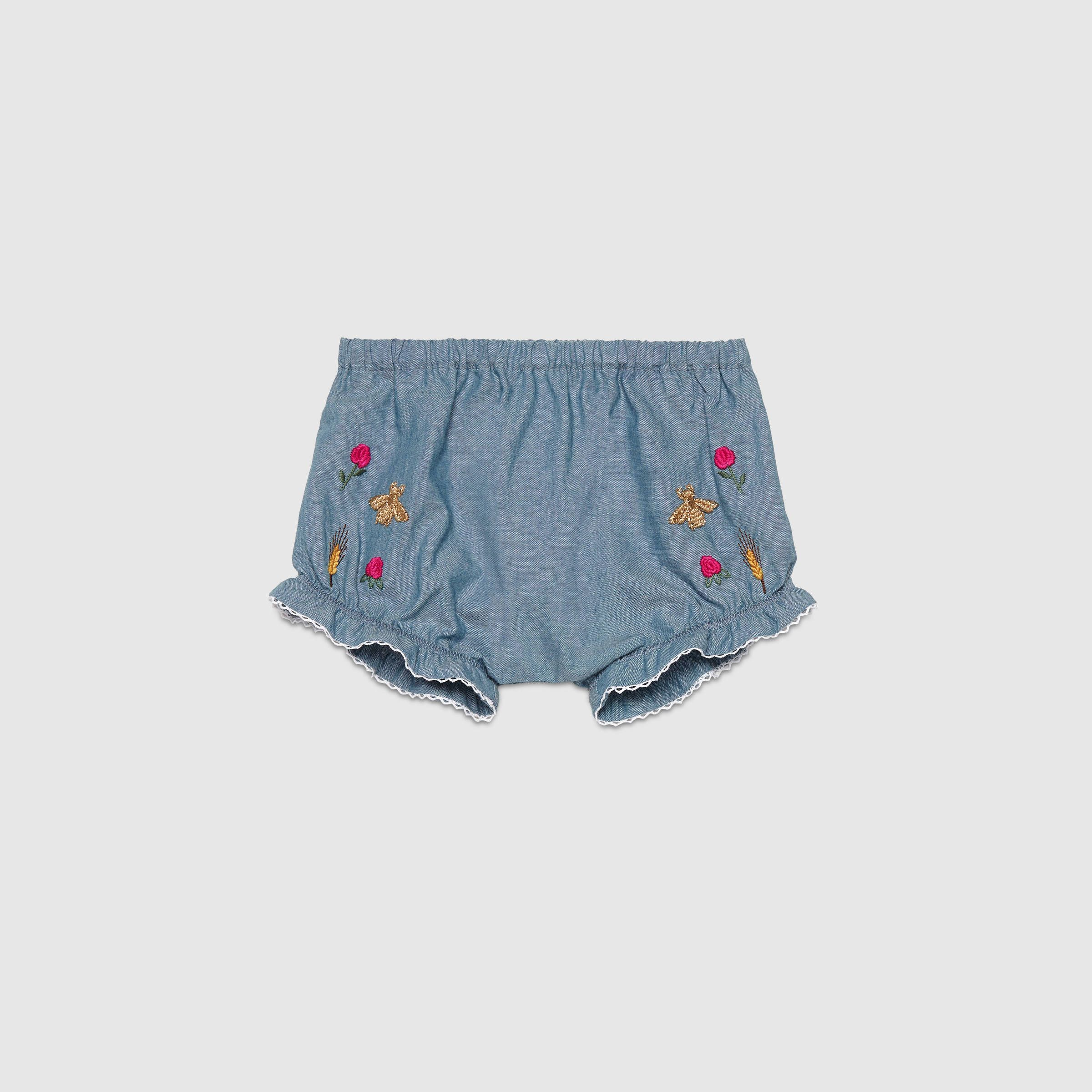 Gucci Children - Baby embroidered chambray short - 411235XR1194236