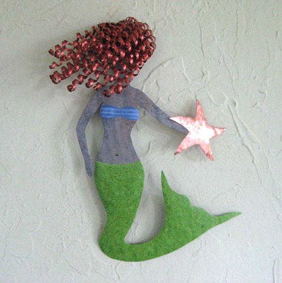 Art Sculpture Marine Decor Mystical Mermaid Upcycled Metal