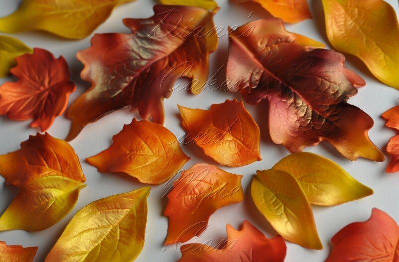 gumpaste autumn leaves for cake