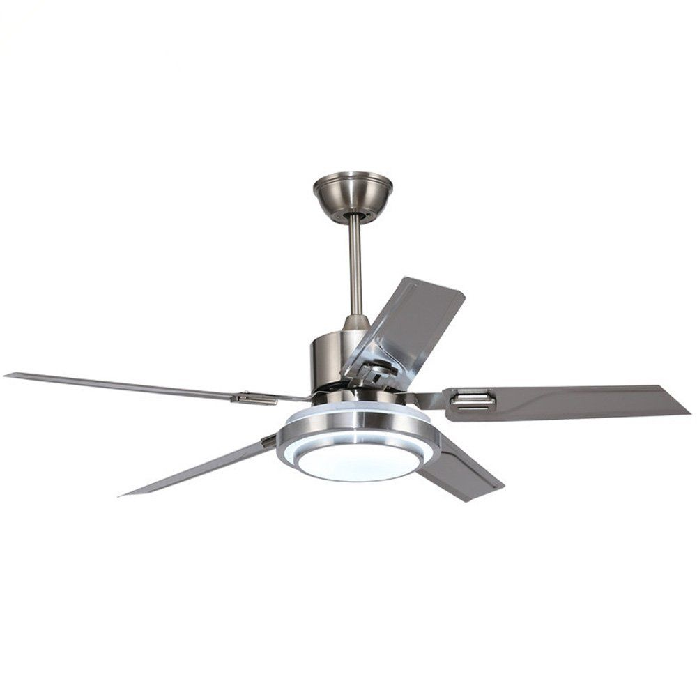 Modern Led Ceiling Fan 48inch 5 Stainless Steel Blade Remote Control For Indoor Quiet Energysaving Fan 3 Colorch Led Ceiling Fan Ceiling Fan Stylish Led Lights