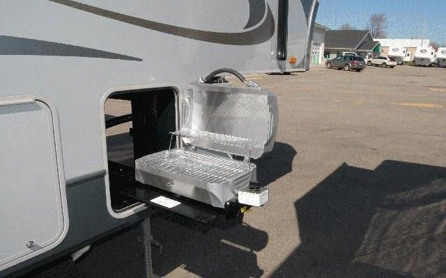 Even A Grill Can Be Stored And Used On A Slide Out Tray Travel Trailer Floor Plans Custom Campers Truck Storage
