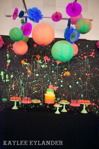 Backdrop Maybe Pictures Dance Party Birthday Neon Party