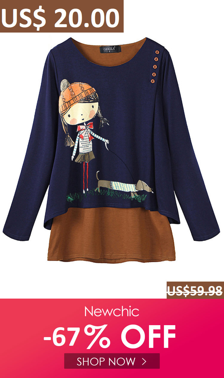 22cf8e84d7ca92 I found this amazing Cartoon Print Long Sleeve Crew Neck Women Blouse with  US 20.00 -