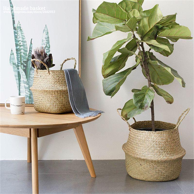 Rattan Belly Plant Flower Basket Wicker
