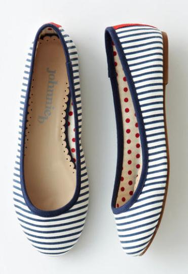 fun navy striped flats | Boots