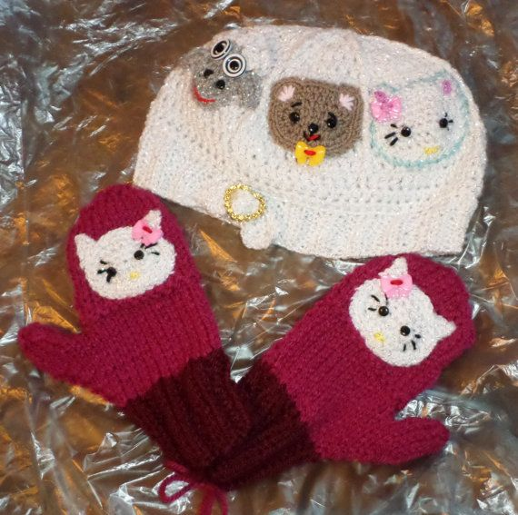 ANIMAL CAROUSEL HAT w/mittens measures 18 to by FASHIONABLEINFANT